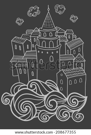 Vector abstract Istanbul city card template. - stock vector