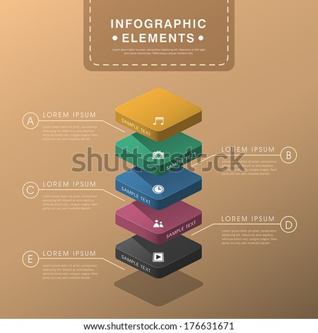 vector abstract layer chart flat design infographic elements - stock vector