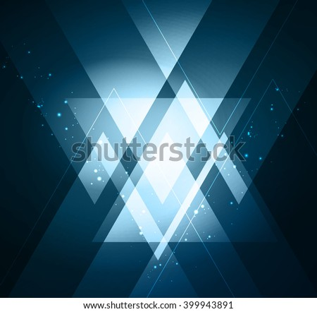 Vector abstract light background with blue triangles - stock vector