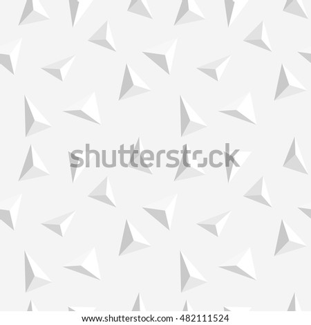 Vector Abstract Light Colored Seamless Pattern Volumetric Triangle Texture Shards Modern White