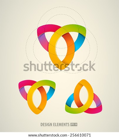 Vector abstract logo design elements. Colorful icons. Cosmetics emblem - stock vector