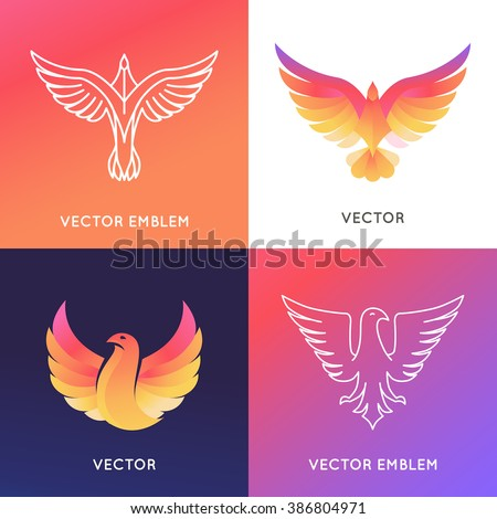 Vector abstract logo design template in bright gradient colors - phoenix bird and eagle emblems