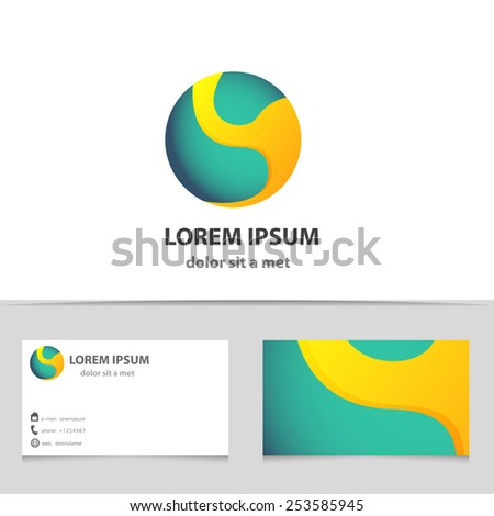Vector abstract logotype sphere with business card template. Modern logo design for your company. Creative illustration. Sci-fi concept icon. - stock vector