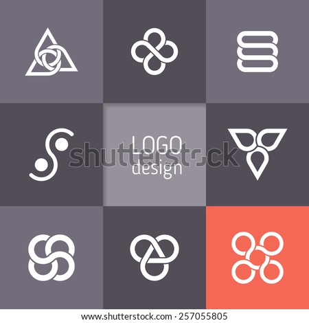 Vector abstract logotypes. Infinity symbols, intertwining circles, triangular templates, elegant abstract symbols. Modern minimalist elements for branding and logo design - stock vector