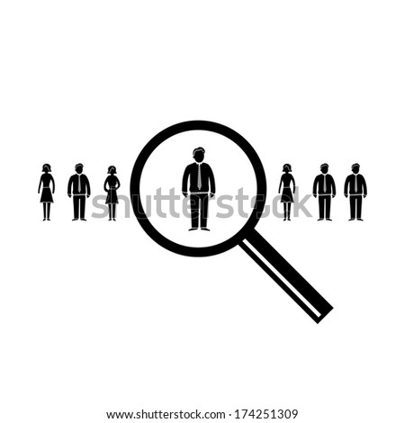 vector abstract market research icon or pictogram | flat design business infographics element black on white background - stock vector