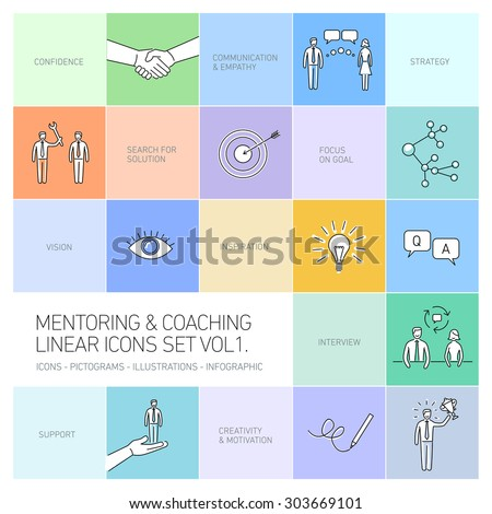vector abstract mentoring and coaching linear icons and pictograms set of skills and solutions black on colorful background - stock vector