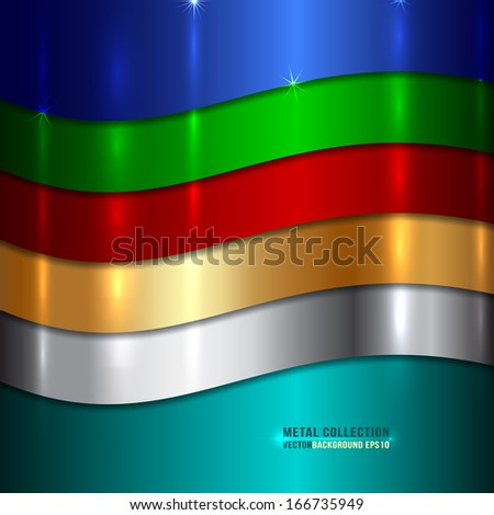 Vector Abstract Metallic multicolor background with curves