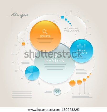 Vector abstract minimal information design template. Elements are layered separately in vector file. Easy editable. - stock vector