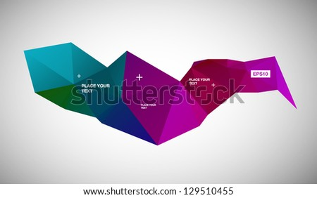 Vector abstract modern geometric background / banner, purple and blue - stock vector