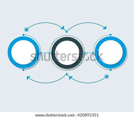 Vector abstract molecules with 3D paper label, integrated circles. Blank space for content, business, infographic template, diagram, network, web design. Light gray color background