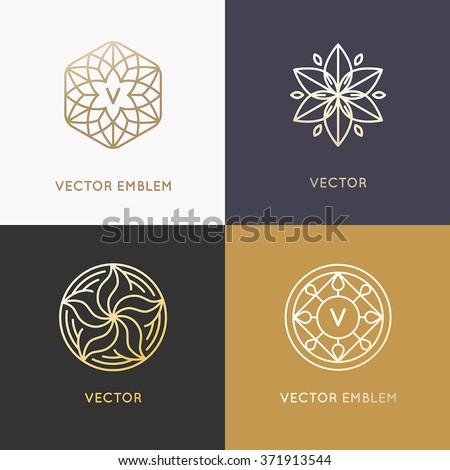 Vector Abstract Monograms Logo Design Templates Stock Vector ...