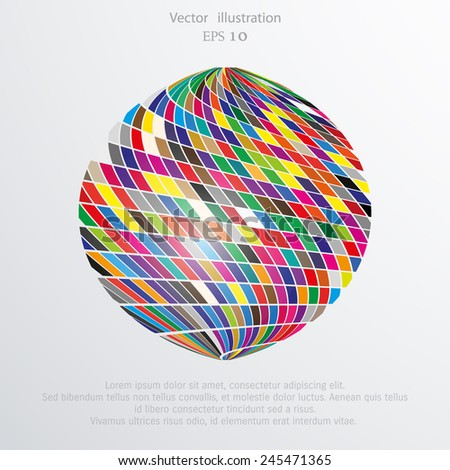 Vector abstract mosaic sphere background. Eps 10 illustration.