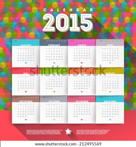 Vector abstract multicolored calendar of 2015 - stock vector
