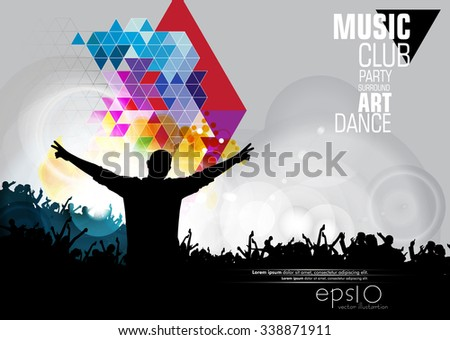 Vector abstract music poster - stock vector