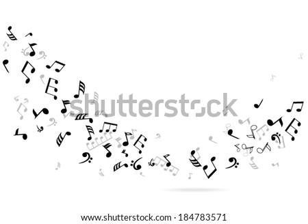 vector abstract musical notes background - stock vector