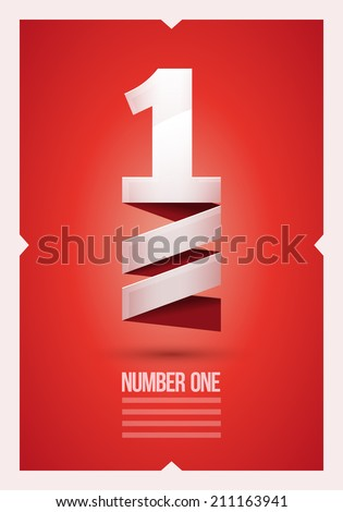 Vector abstract number 1 poster design template. - stock vector