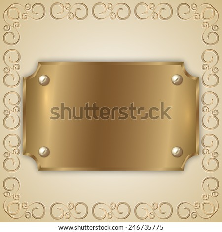 Vector abstract old gold award plate with curved corners, screws, ornament and place for text