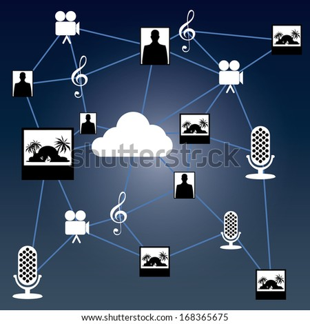 Vector Abstract On line Cloud Computing Elements Isolated