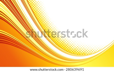 Vector Abstract orange color curved lines background with halftone. Template brochure design. Summer retro style - stock vector