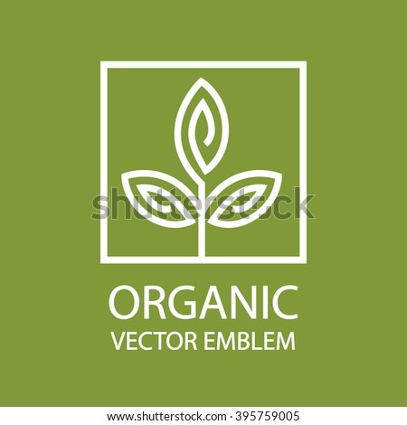 Vector abstract organic emblem, outline monogram, flower symbol - stock vector