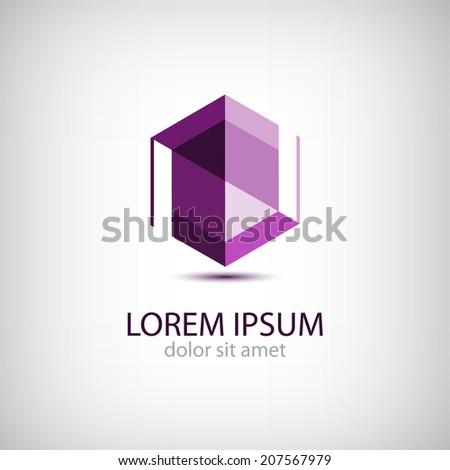 vector abstract origami crystal editable icon, logo isolated - stock vector