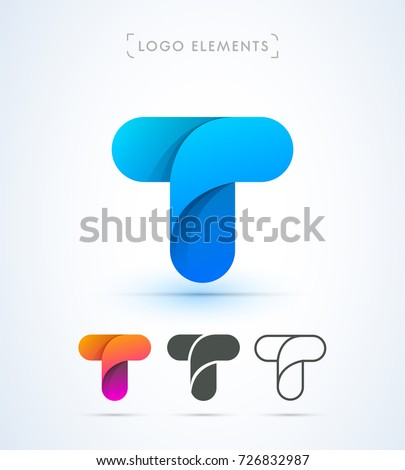 Vector Abstract Origami Letter T Logo Template Material Design Style