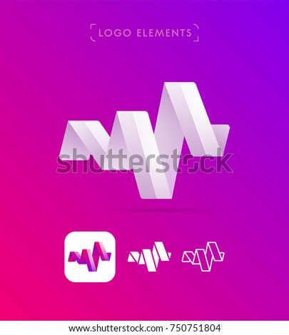 Vector Abstract Origami Music Wave Logo Stock Vector Hd Royalty