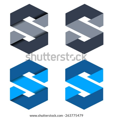 vector abstract paper letter S symbols - stock vector