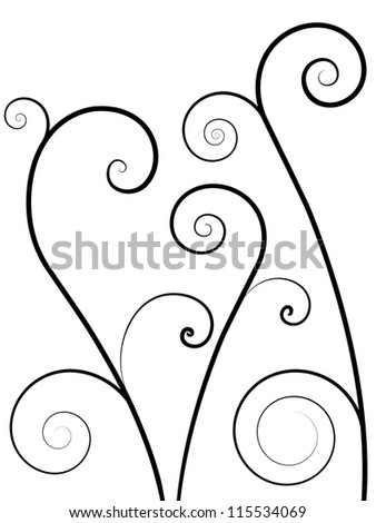 Vector Abstract Pattern Background with Vertical Floral Swirl Elements