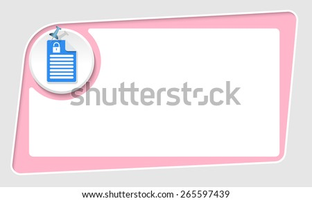 vector abstract pink box and pushpin and padlock - stock vector