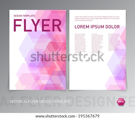 Vector abstract pink flyer design with geometric hexagonal background - stock vector