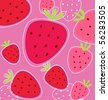 Vector abstract pink fruity strawberry background  Stylized vector texture of red strawberry isolated on pink background - stock vector