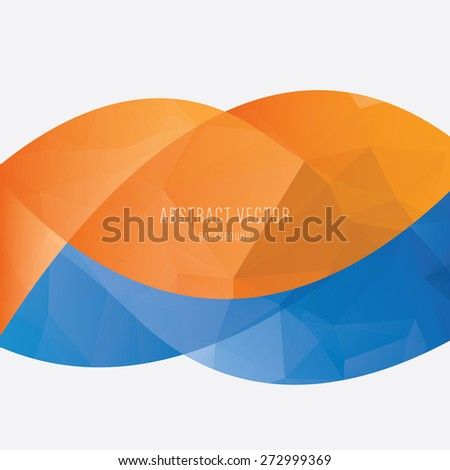 vector abstract polygonal background, modern orange and blue colors - stock vector