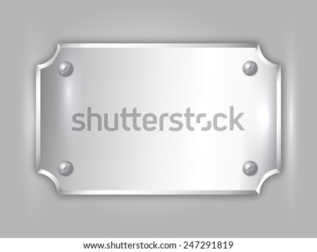 Vector abstract precious metal silver award plate with curved corners, screws and place for text - stock vector