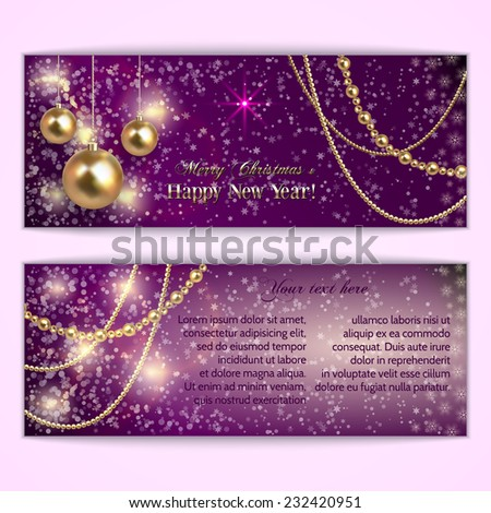 Vector abstract  purple Christmas and New Year Greeting or Invitation horizontal two side  Card - stock vector