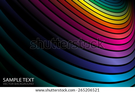 Vector abstract rainbow curved background illustration - Abstract rainbow colorful background spreading arcs - stock vector