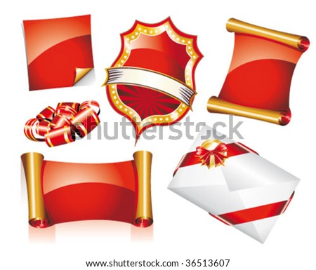 VECTOR Abstract Red and Gold Set of Christmas Design Elements - stock vector