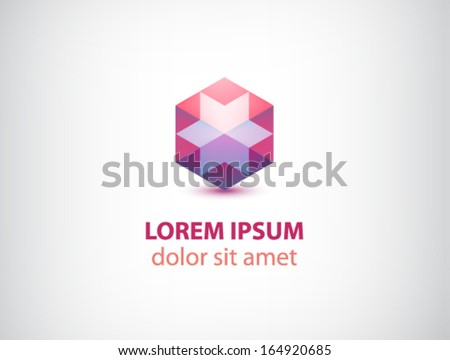 vector abstract red 3d polygon crystal logo for company isolated - stock vector