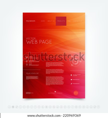 Vector abstract red website design template with smooth dynamic wave background and a set of icons - stock vector
