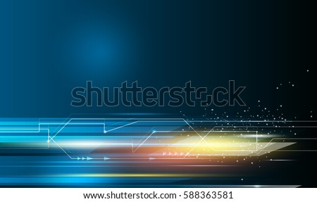 Vector Abstract, science, futuristic, energy technology concept. Digital image of arrow sign, light ray, stripes lines with blue light, speed movement pattern and motion blur over dark blue background