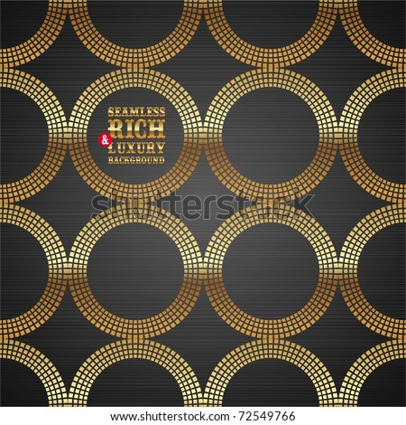Vector abstract seamless background with golden luxury round elements on a dark metal texture - stock vector
