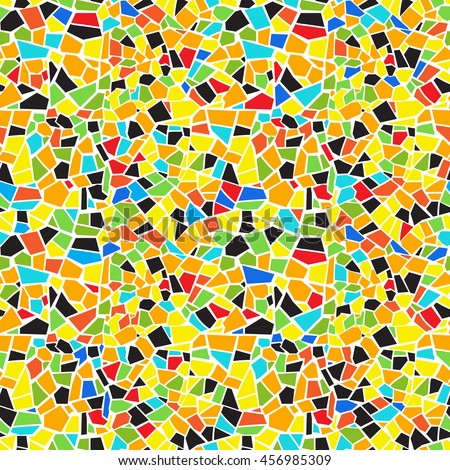 Vector abstract seamless colorful mosaic pattern. Green, yellow, orange, red, blue, black, white background. For design and decorate backdrop. Endless texture. Ceramic broken tile fragments.