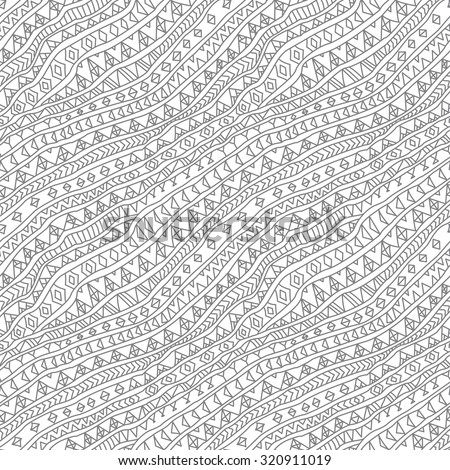 Vector abstract seamless fantasy pattern of silver grey hand drawn outline geometrical ornaments, freehand stripes on a white background. Textile print.  Page fill. Coloring book illustration - stock vector