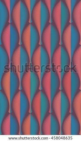 Vector abstract seamless geometric rhythmical orange and blue pattern. Art deco style. Repeat decorative feather, leaf, fan with edge. Wallpaper for PC, laptop or phone. Wrapping paper. Textile - stock vector