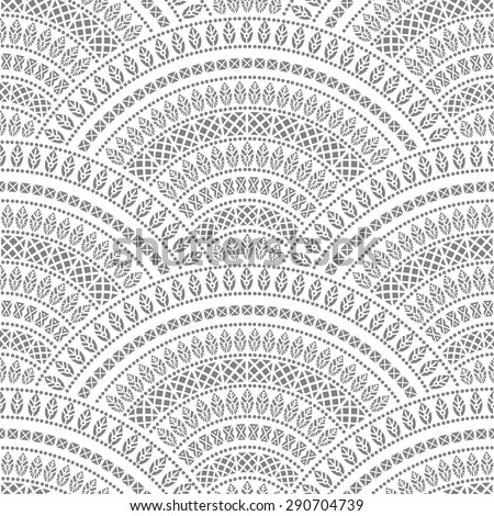 Vector abstract seamless geometrical background from grey fan shaped ornate elements with ethnic patterns  - stock vector
