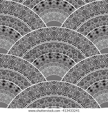 Vector abstract seamless geometrical background with fish scale layout from dark grey and white fan shaped ornate elements with ethnic patterns. Art deco wallpaper, wrapping, batik paint - stock vector