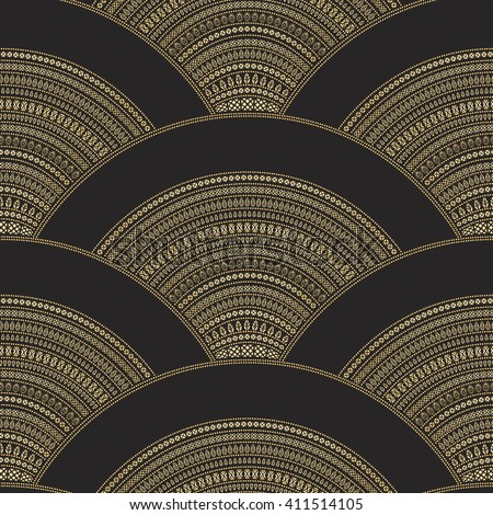 Vector abstract seamless geometrical wavy background from golden fan shaped ornate feathers, banners with ethnic patterns. Fish scale order. Batik painting. Oriental textile print. Art deco wallpaper - stock vector