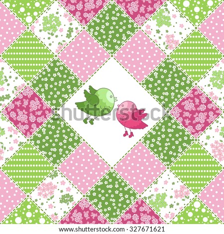 Vector abstract seamless patchwork pattern with floral  ornaments, stylized flowers, birds and dots. Vintage boho style. - stock vector