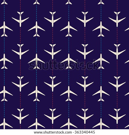 Vector abstract seamless pattern with airplanes - stock vector