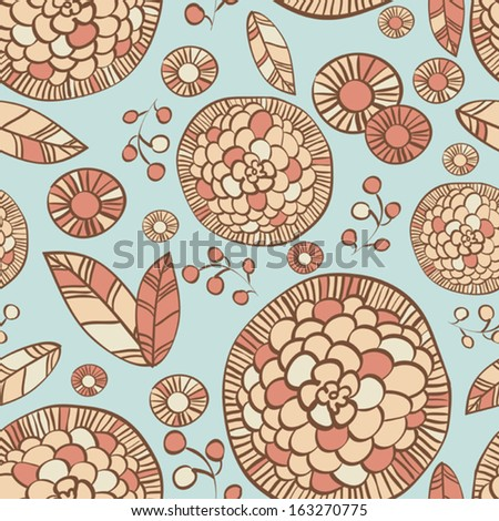 Vector abstract seamless pattern with flowers, pastel colors - stock vector